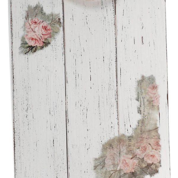 Δίσκος γάμου ξύλινος εκρού τετράγωνος με ζωγραφισμένα λουλούδια