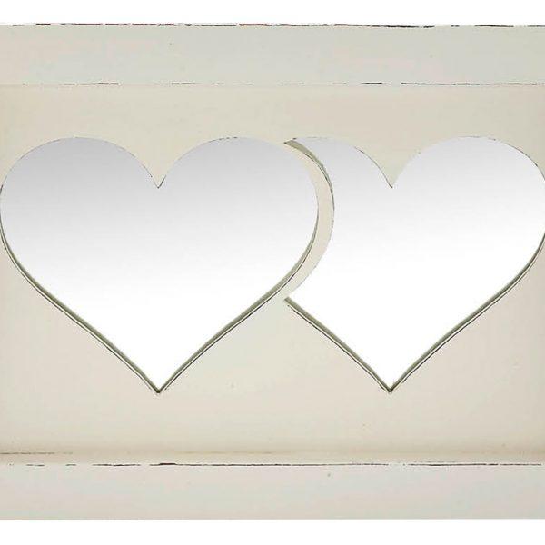 Δίσκος γάμου διπλή καρδιά ξύλινος εκρού
