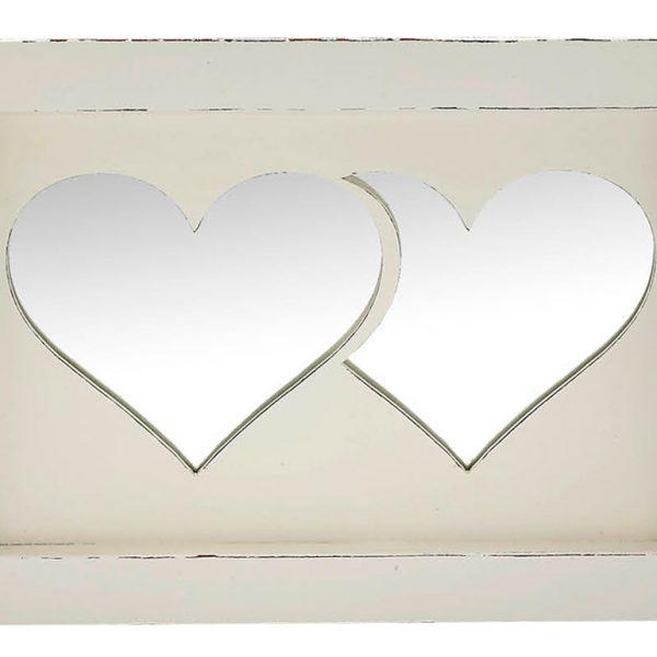 Δίσκος γάμου 2 καρδιές καθρέπτης, ξύλινος εκρού