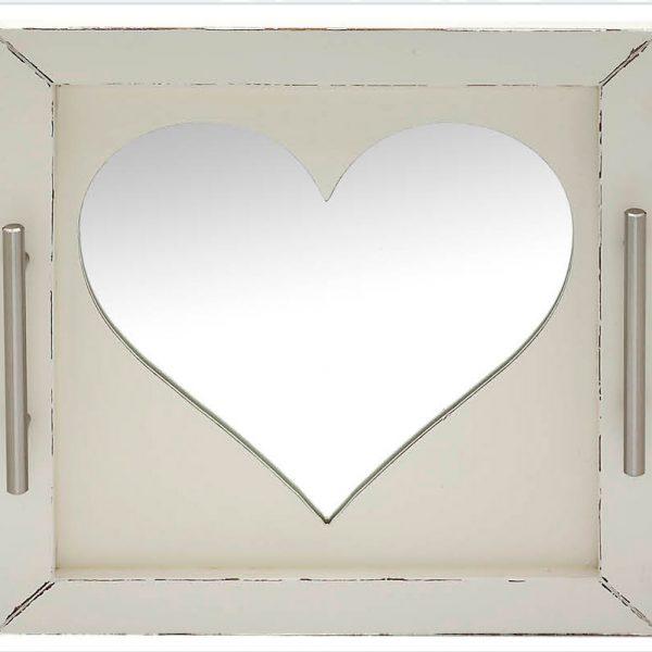 Δίσκος γάμου καρδιά καθρέπτης, ξύλινος λευκός