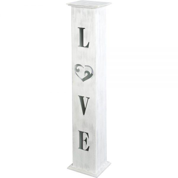 """Κηροπήγιο γάμου ξύλινο λευκό με κοψίματα """"LOVE"""""""
