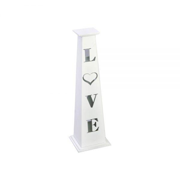 """Κηροπήγιο γάμου ξύλινο λευκό κωνοειδές με κοψίματα """"LOVE"""""""