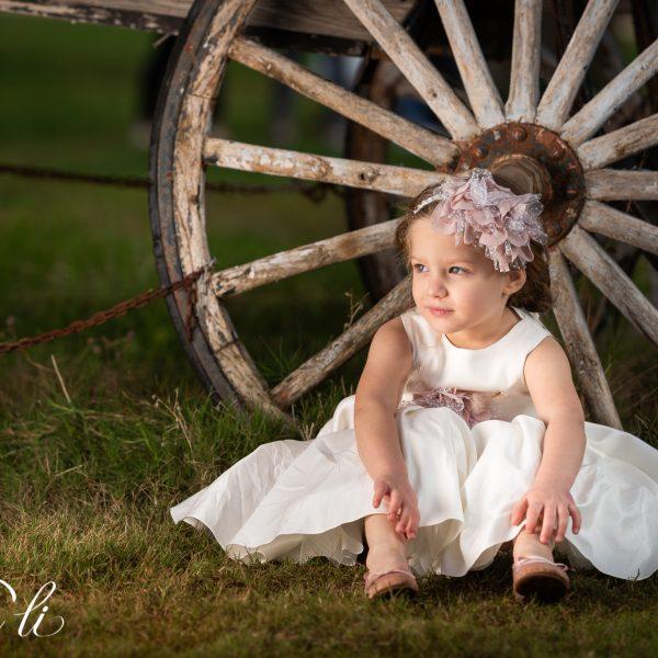 Φόρεμα μεσάτο εκρού με σούρες