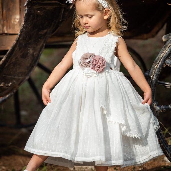 Φόρεμα μεσάτο βαμβακερό με λεπτομέρειες βαμβακερής δαντέλας