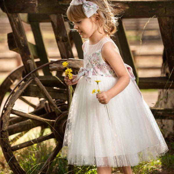 Φόρεμα μεσάτο με εμπριμέ μπούστο