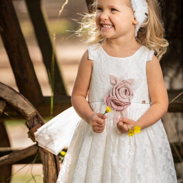 Φόρεμα μεσάτο με βαμβακερή δαντέλα