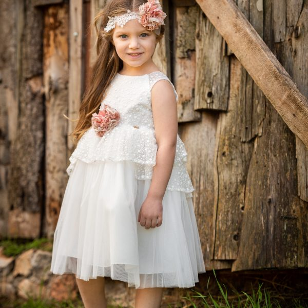 Φόρεμα μεσάτο με δαντέλα στο μπούστ