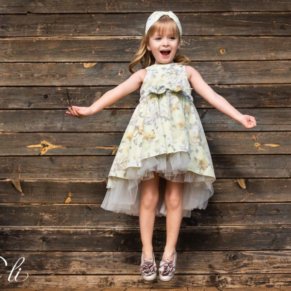 Φόρεμα μεσάτο ασύμμετρο εμπριμέ