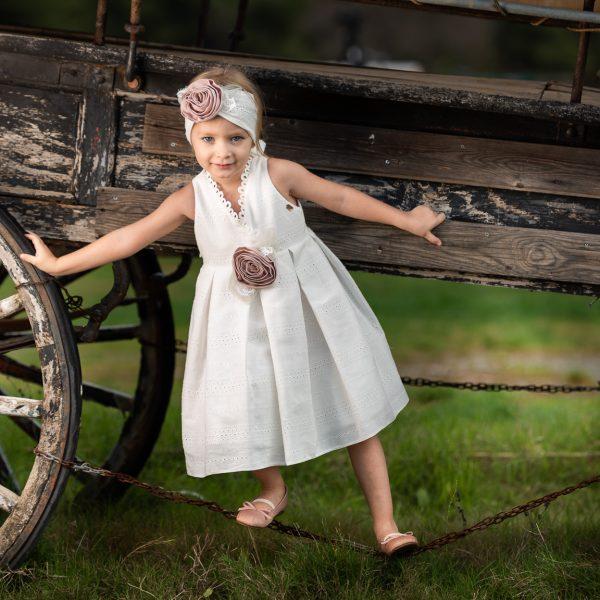 Φόρεμα μεσάτο με λεπτομέρειες δαντέλας στο μπούστο