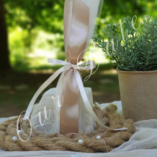 Μπομπονιέρα γάμου με κορδέλα μόκα