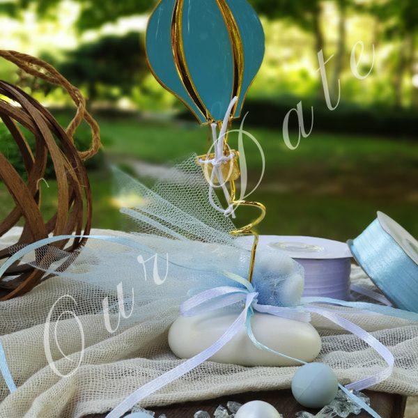 Μπομπονιέρα βάπτισης αερόστατο σε πέτρα