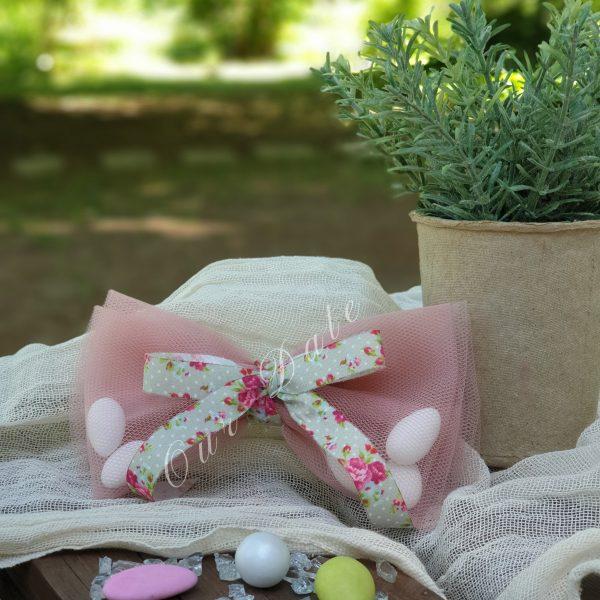 Μπομπονιέρα γάμου-γαμοβάπτισης φιόγκος σάπιο μήλο με φλοράλ κορδέλα