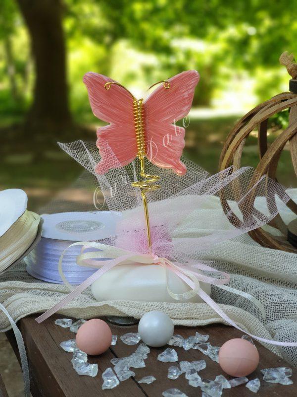 Μπομπονιέρα βάπτισης πεταλούδα σε πέτρα