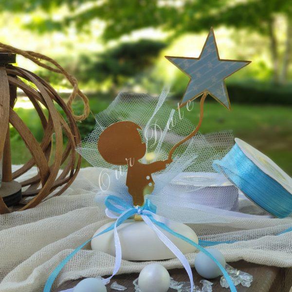 Μπομπονιέρα βάπτισης αγόρι με αστέρι σε πέτρα